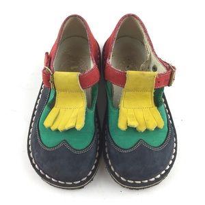 Pom D'Api Leather t-Strap Kiltie Shoes Toddler 9